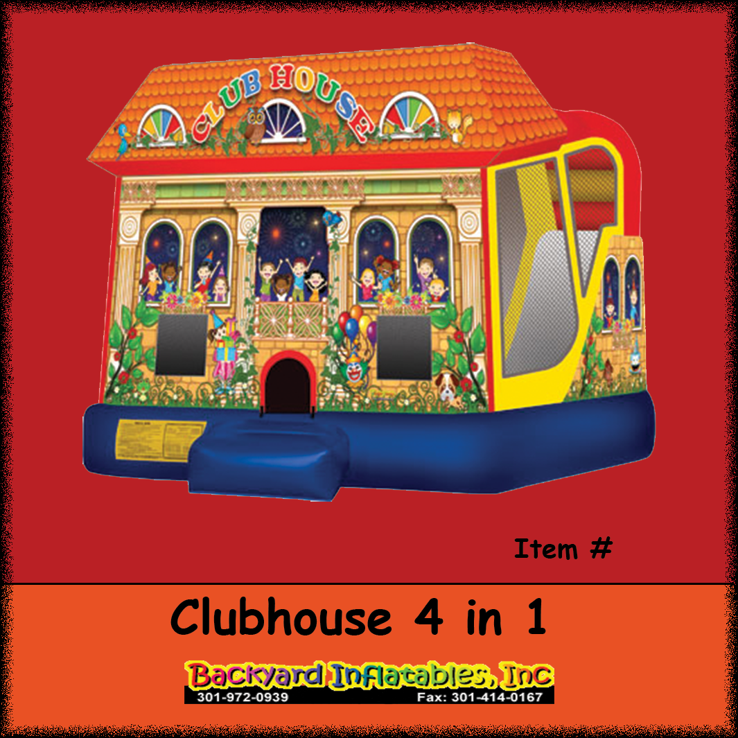 club house moon bounce with slide backyard inflatables