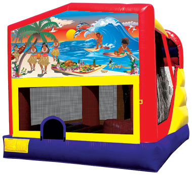 Tropical moon bounce with slide