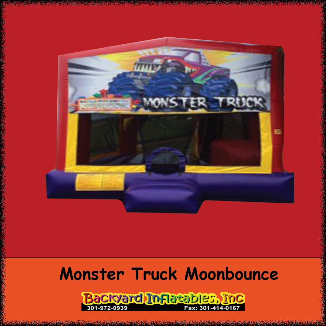 monster truck moon bounce with slide backyard inflatables