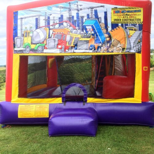 Construction moon bounce with slide