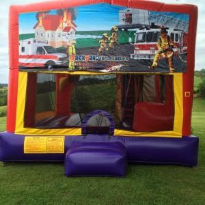 Fireman moon bounce with slide