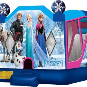 Frozen themed moon bounce with slide